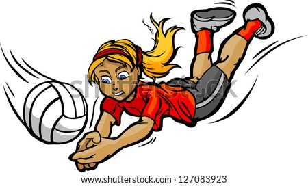 Vector Image of Female Volleyball Player Diving for a Volleyball - stock vector