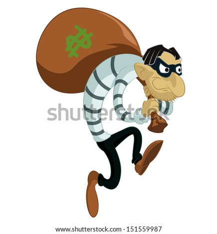 Vector image of funny cartoon evil thief - stock vector