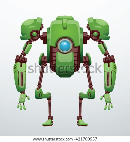 Vector image of funny green robot with two arms and legs, with a blue lens in the center of the body standing on a light gray background. Future, technology, modern. Vector humanoid robot. - stock vector