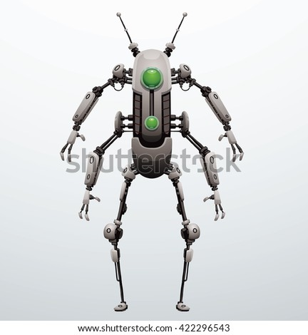 Vector image of funny thin white robot with four arms and  two legs, with a green lens in the center of the body standing on a light gray background. Future, technology, modern. Vector humanoid robot. - stock vector