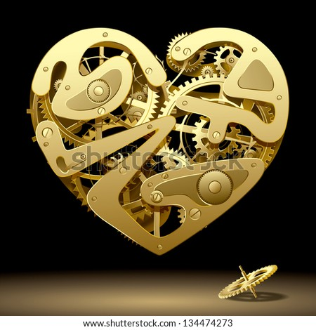 Vector image of gold clockwork heart on the black background with a pinion - stock vector