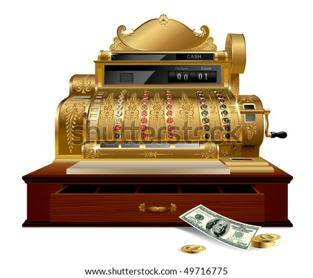 Vector image of gold vintage cash register with a dollar - stock vector