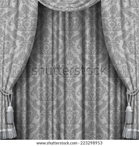 Vector image of gray curtain with Baroque ornament. Square theater background. Artistic poster - stock vector