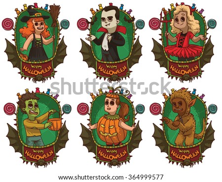Vector image of green frames with bat wings, candies, spiders, banners and with cartoon images of children in various Halloween costumes on white background. Holiday, Halloween. Vector illustration. - stock vector