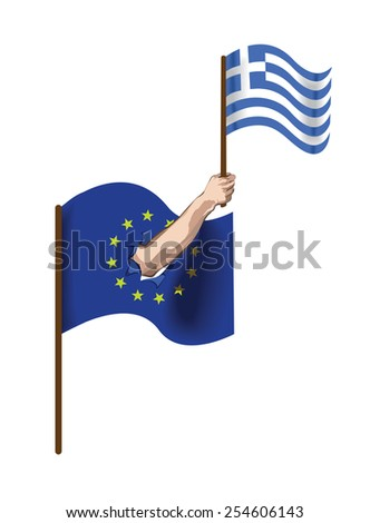 Vector image of hand holding Greek flag coming out of European flag. - stock vector