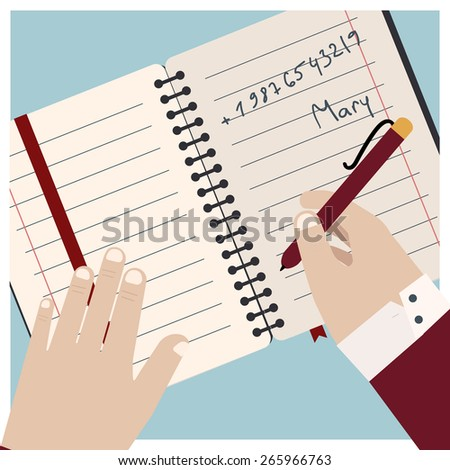 Vector image of hand writing in notebook, flat style illustration icon - stock vector
