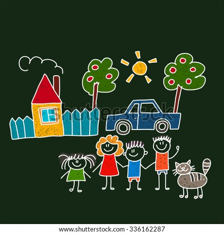 Vector image of happy family with house and car - stock vector