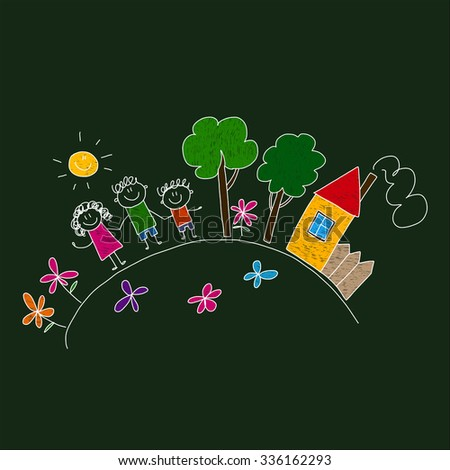 Vector image of happy family with their house and meadow. - stock vector