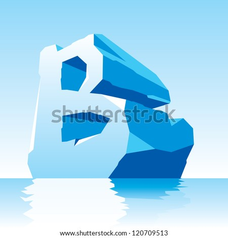 vector image of ice letter B - stock vector