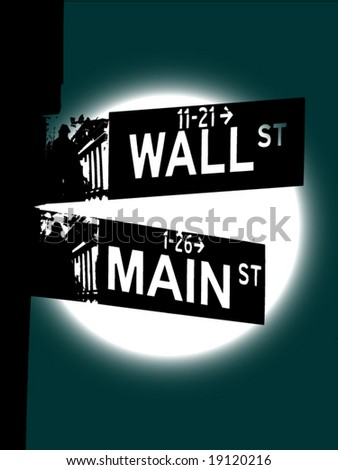 Vector image of intersection of Wall St and Main St. Concept for financial crisis. Full moon in background - stock vector