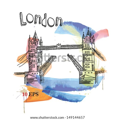 vector image of london symbols. tower bridge. - stock vector