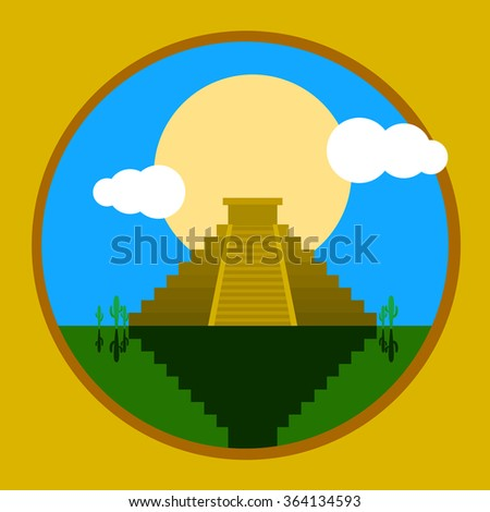 Vector image of Mexican heritage - Aztec Temple Pyramid Chichen Itza. Made in flat cartoon style. - stock vector