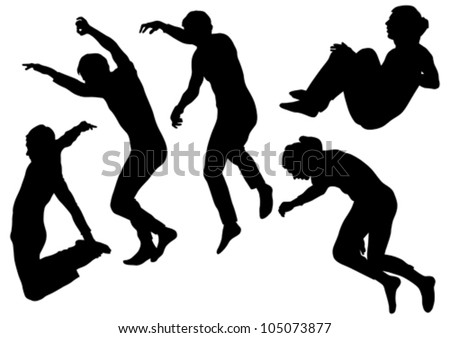 Vector image of people involved in parkour - stock vector