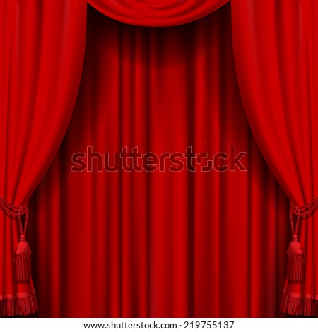 Vector image of red curtain. Square theater background. Artistic poster - stock vector