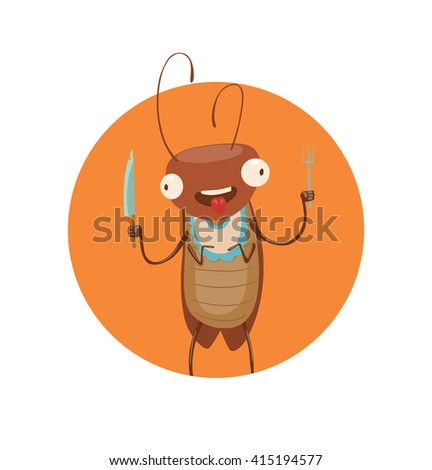 Vector image of round orange frame with cartoon image of a funny brown cockroach with antennae and six legs with knife and fork in the center on a white background. Anthropomorphic cartoon cockroach. - stock vector