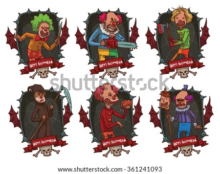 Vector image of set of dark gray rectangular frames with thorns, red bat wings, skull, crossbones, red banner and with cartoon image of evil clowns in the center on  light background. Halloween.  - stock vector
