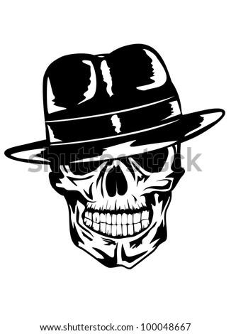 Vector image of  skull in hat - gangster - stock vector