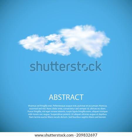 vector image of speech cloud on blue sky, easy editable - stock vector