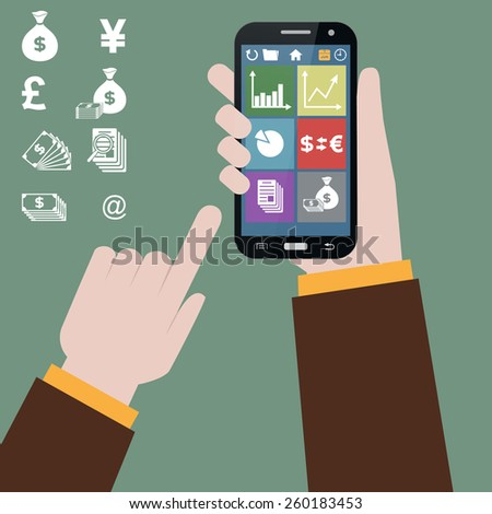 vector image of stock market on mobile phone - stock vector