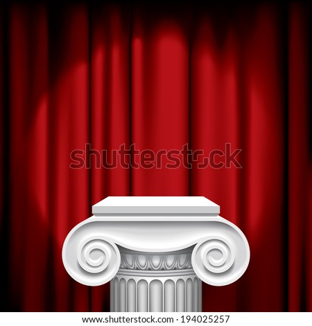 Vector image of the capital of ancient column against a illuminated red fabric background - stock vector