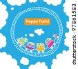 Vector image of the children's railway in the sky. / Childhood dream. - stock vector