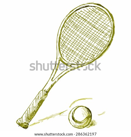 Vector image of the equipment for the game of tennis. Tennis racket and ball - stock vector