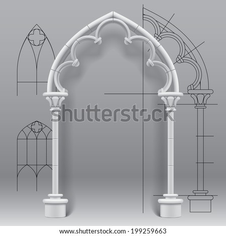 Vector image of the gothic arch against a paper background with architectural draft - stock vector