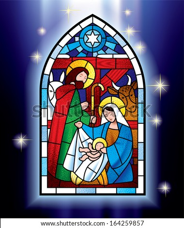 Vector image of the stained glass window depicting Christmas scene against a luminescent blue background with stars - stock vector