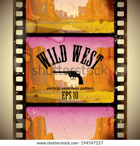 Vector image of the vintage western film strip with big canyon - vertical seamless pattern background - stock vector