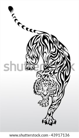 Vector image of tiger tattoo - stock vector