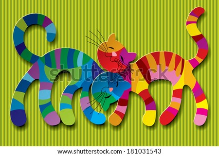 Vector image of two paper multicolored cats in love against a light green background - stock vector