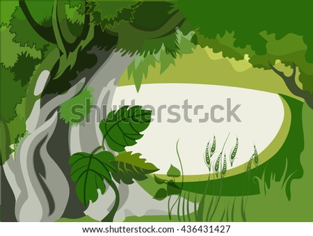 Vector image of undergrowth in a tropical forest - stock vector