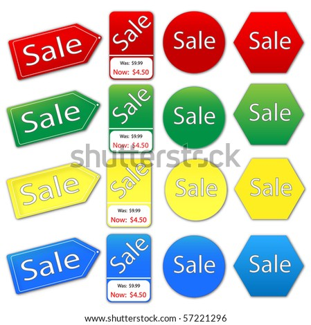 Vector image of various colorful sale tags. - stock vector