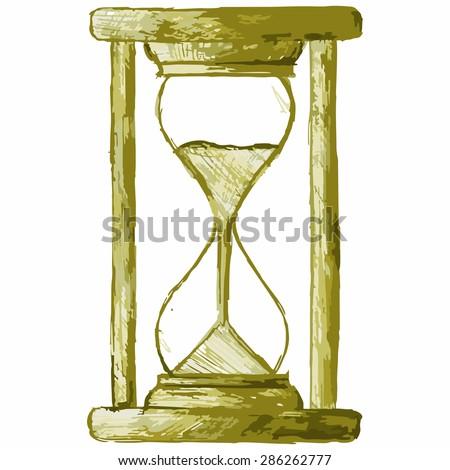 Vector image of vintage hourglass - stock vector