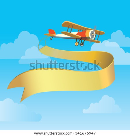 Vector image of vintage plane with banner in the sky - stock vector