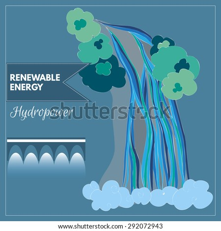 Vector image of waterfall representing hydro power as a source of renewable energy - stock vector