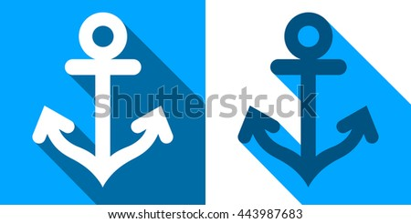 Vector image of white and blue anchors with shadows - stock vector