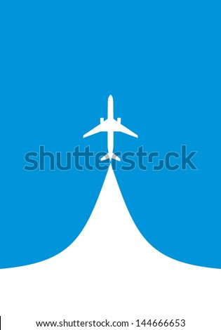 vector image of white silhouette of jet airplane, isolated on blue - stock vector