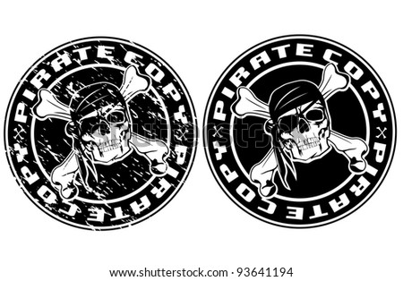 Vector image print an old seal with pirate skull - stock vector