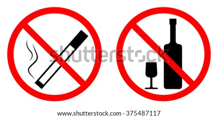 vector image - signs prohibiting smoking and drinking alcohol - stock vector