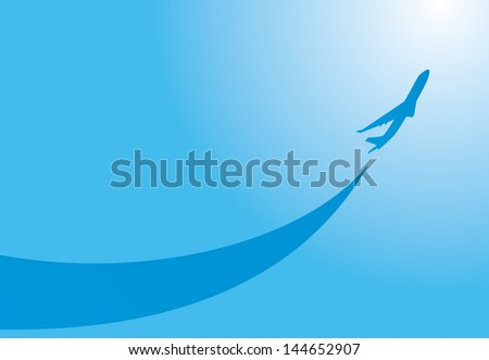 vector image silhouette of jet airplane take-off - stock vector