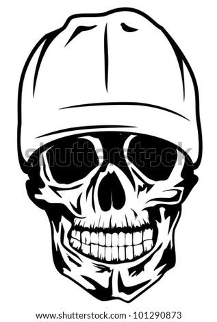 Vector image skull in hat - stock vector