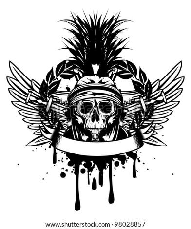 Vector image skull in helmet  and crossed sword - stock vector