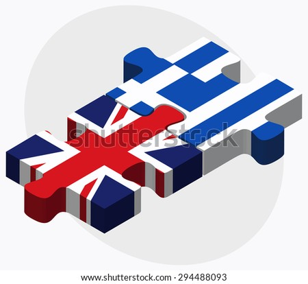 Vector Image - United Kingdom and Greece Flags in puzzle isolated on white background  - stock vector
