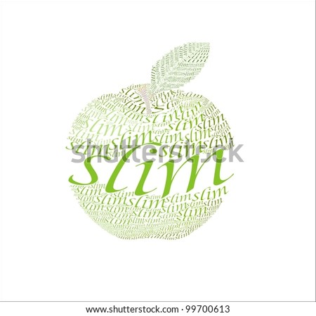 """vector images is a green apple from the words """"slim"""" - stock vector"""