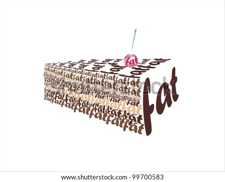 """vector images is a piece of chocolate cake from the word """"fat"""" - stock vector"""