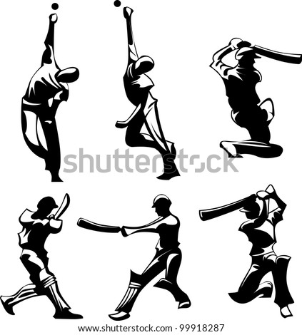 Vector Images of Cricket Players Silhouettes Throwing and Hitting Ball - stock vector