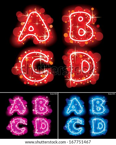 Vector images of neon shining red, pink and blue alphabet capital letters with stars - stock vector