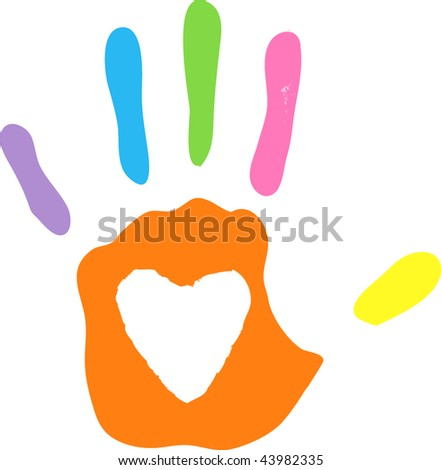 vector imprint of left hand - white areas of heart are transparent over any background - stock vector