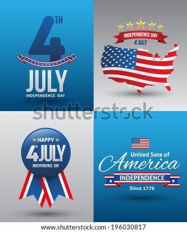 Vector independence day poster set. - stock vector